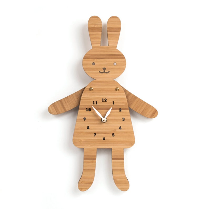 Kawaii rabbit Wall Clock Posable Arms Nursery Decor Kids image 0