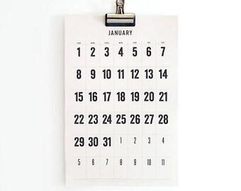 2018 - 2019 Wall Calendar minimal, typographic, large dates, planner