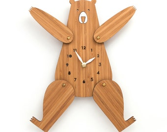 Wall clock wood, Cute bear clock with numbers, Posable Arms and Legs, silent clock movement, unique gift ideas