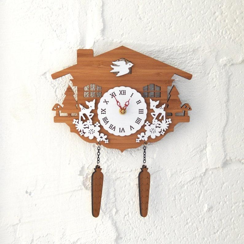 Cuckoo Clock Modern Wall Clock Deer Style C image 0
