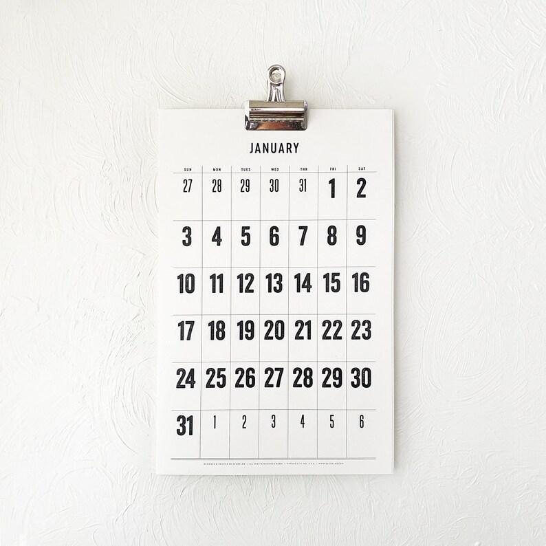 2021 Wall Calendar minimal typographic large dates planner image 0