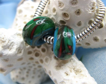 BHB Turquoise, Red and Green Abstract Swirl big hole beads set of 2 fit European Charm Bracelets