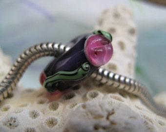 BHB Pink Flowers on Purple big hole floral bead