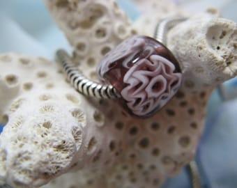 BHB Plum with White Italian Murano Millefiori big hole bead