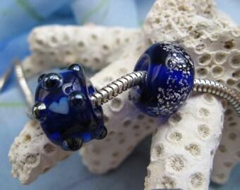 BHB Bumpy Hearts and Starry Skies set Cobalt Blue Glitter big hole beads fit European Charm bracelets