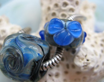 BHB Blue Hawaii Hibiscus Flower and Wave set of 2 big hole beads