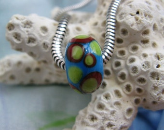 BHB Retro Dots Turquoise, Red, and Lime Green big hole bead