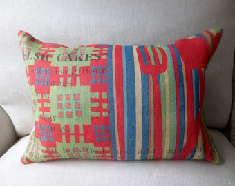 Heavy Linen Cushion, Unique Design Inspired by Traditional Welsh Blankets and Welsh Cake Recipe