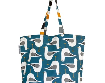 Quality Seagull design tote bag 100% cotton canvas. Fully lined in an accented yellow cotton. Designed and Made in Wales