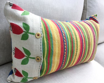 Beautiful One of a Kind Cushion Printed on Heavy Linen, Embelished with Hand Stitches. Fabric designed by Jenny Lee-Katz- A Unique Gift