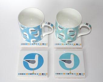 Fine bone china mug with matching tile coaster.  Made in the UK. Seagull design, coastal. Unique Thank You gift