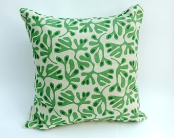 Heavy Linen Cushion, Unique Design Inspired by Seaweed in Our Local Rock Pools Here on the Gower Peninsular