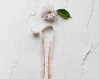 Watercolor Silk Ribbon for Wedding Invitation-Coral