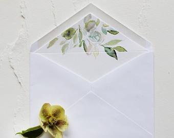 Hand Painted Shimmer Watercolor Leaves Envelope Liner