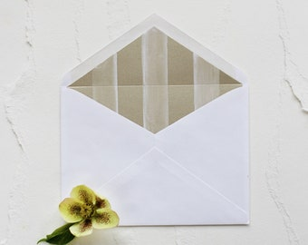 Handmade Hand Painted Gold and White Stripe Envelope Liner