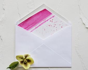 Handmade Hot Pink Hand Painted Watercolor Wedding Invitation Envelope Liner