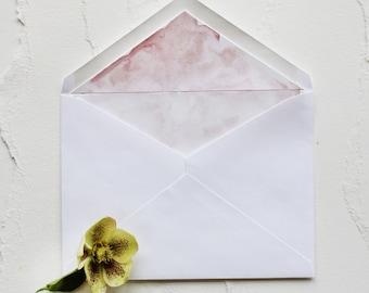 Handmade Blush Shimmer Hand Painted Watercolor Wedding Invitation Envelope Liner