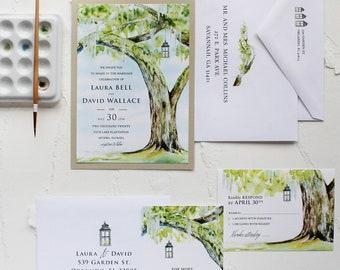 Handmade Watercolor Live Oak Plantation Wedding Invitation, Watercolor Wedding Invitation - Green, Tree, Plantation