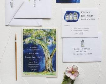 Handmade Watercolor Evening Live Oak Plantation Wedding Invitation, Watercolor Wedding Invitation - Navy, Tree, Plantation
