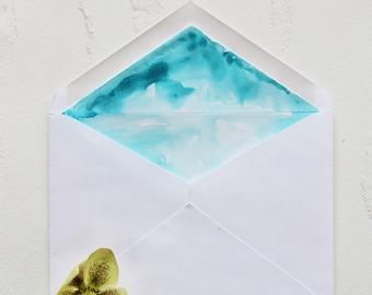 Handmade Teal Shimmer Hand Painted Watercolor Wedding Invitation Envelope Liner