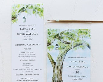 Watercolor Oak Tree Hand Painted Wedding Program