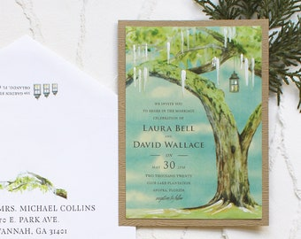 Handmade Watercolor Sunny Live Oak Plantation Wedding Invitation, Watercolor Wedding Invitation - Blue, Green, Tree, Plantation