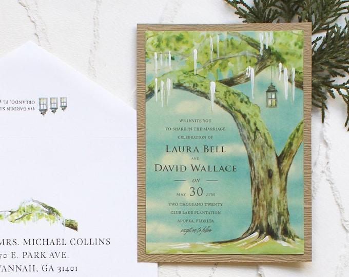 Featured listing image: Sunny Live Oak Plantation Watercolor Wedding Invitation