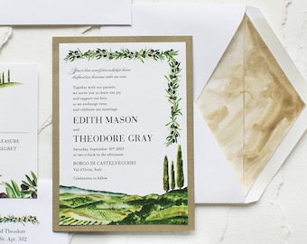 Tuscany Italy Landscape and Olive Branch Watercolor Wedding Invitation - Handmade, Hand-painted