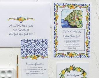 Italy Landscape, Lemon & Tile Watercolor Wedding Invitation - Handmade, Hand-painted