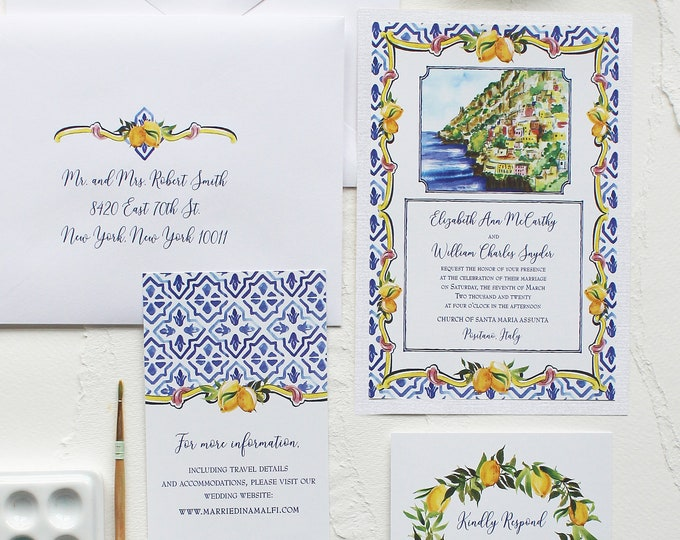 Featured listing image: Italy Landscape, Lemon & Tile Watercolor Wedding Invitation - Handmade, Hand-painted