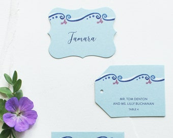 Italian Scroll-Inspired Watercolor Place Cards - Blue Pattern