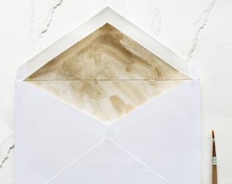 Handmade Hand Painted Gold Wash Envelope Liner