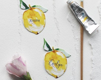 Italy-inspired Die-Cut Watercolor Lemon Place/Seating Cards - Yellow & Green