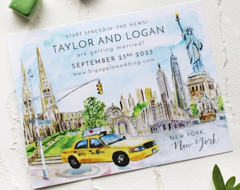 Watercolor New York City Scene Save the Date