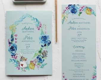Wonderland Inspired Watercolor Wedding Program