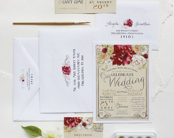 Watercolor Dahlia and White Rose Wedding Invitation, Watercolor Wedding Invitation - Dahlia, Red, Burgundy