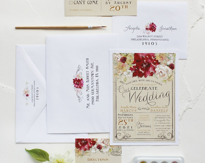 Featured listing image: Dahlia and White Rose Watercolor Wedding Invitation