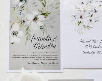 White Watercolor Flower Wedding Invitation, Watercolor Wedding Invitation - Silver, White, Anemone Flower