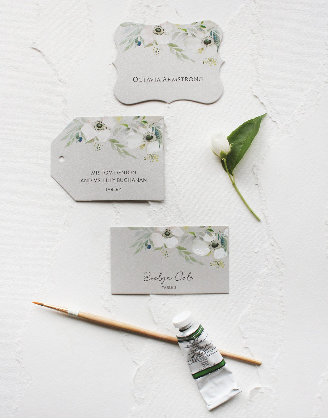 White Watercolor Flower Wedding Placeseating Cards White Silver