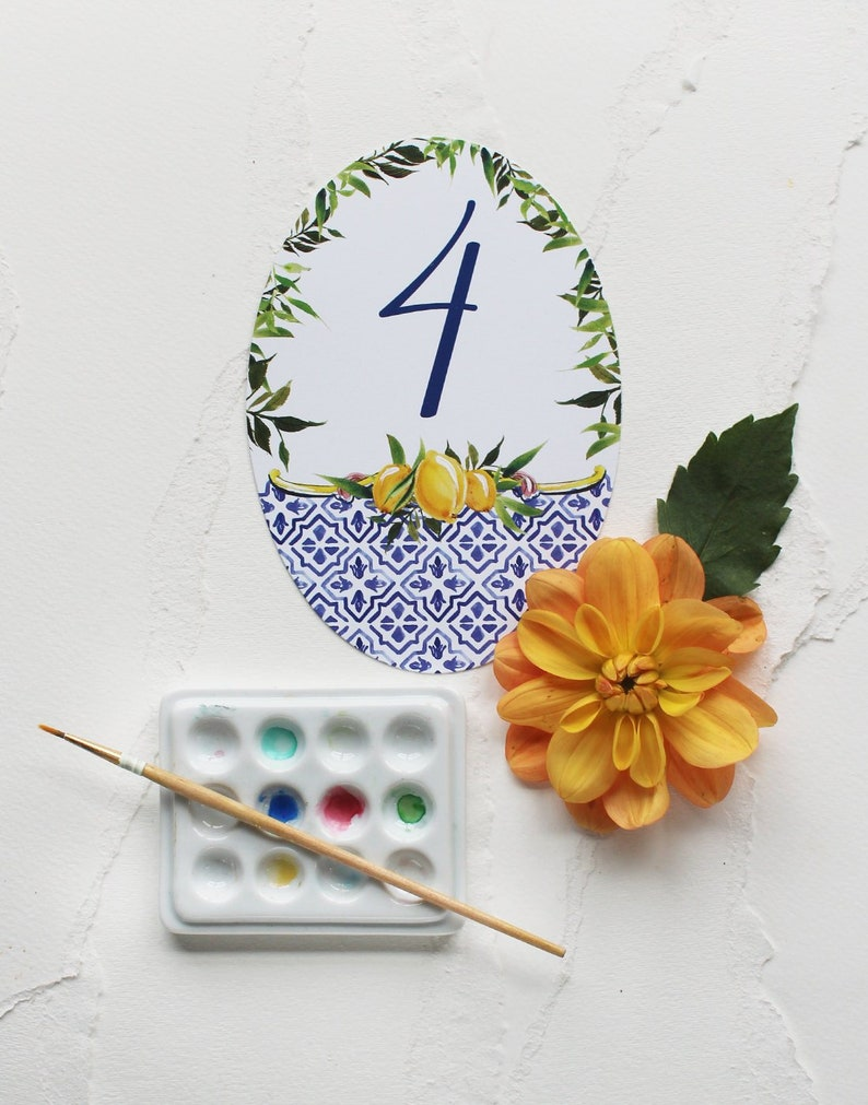 Italy-inspired Watercolor Table Numbers Tile & Lemon Design image 1