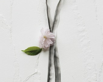 Watercolor Silk Ribbon for Wedding Invitation - Charcoal