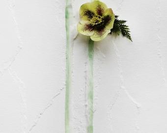 Watercolor Silk Ribbon for Wedding Invitation - Celery