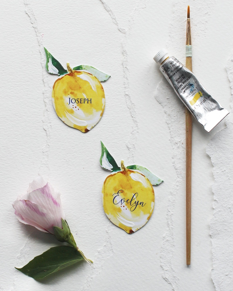 Italy-inspired Die-Cut Watercolor Lemon Place/Seating Cards  image 1