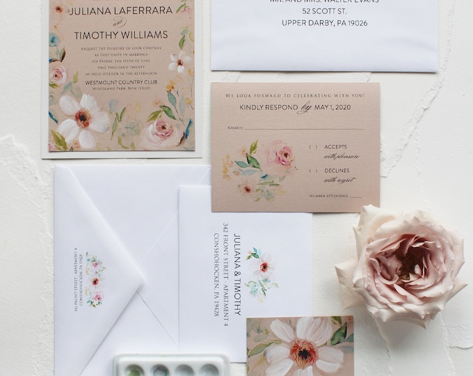 Featured listing image: Handmade Watercolor Roses Wedding Invitation, Watercolor Wedding Invitation - Garden Roses, Pink, White