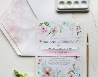 Handmade Pink Watercolor Roses Wedding Invitation, Watercolor Wedding Invitation - Garden Roses, Pink, White