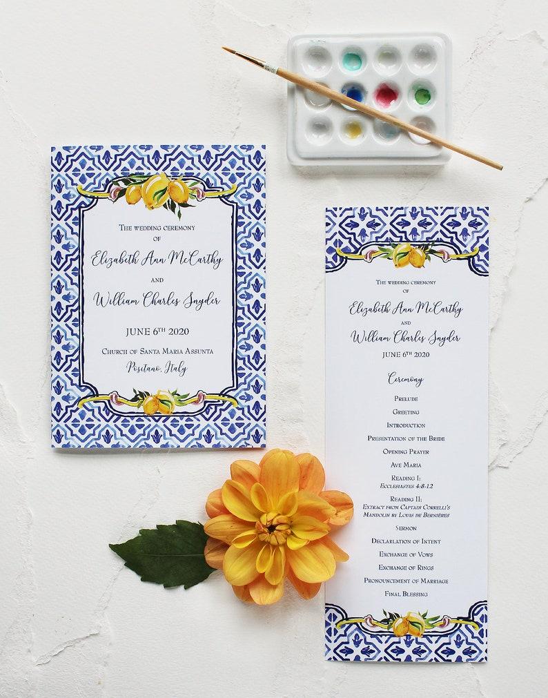 Italy-inspired Watecolor Wedding Program Tile & Lemon Design image 1