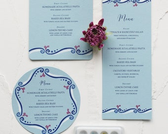 Italy-inspired Scroll Watercolor Wedding Menu - Blue Pattern