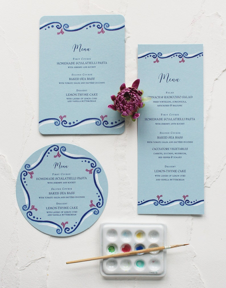 Italy-inspired Scroll Watercolor Wedding Menu  Blue Pattern image 1