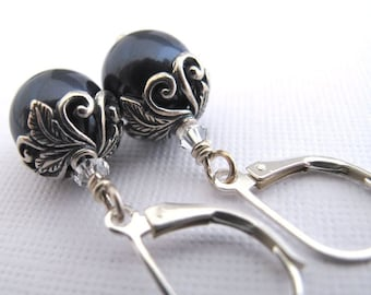 Botanical Romance Earrings - Swarovski Crystal Pearls, Midnight Blue, Sterling Silver