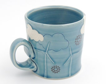 Windmill Ceramic Mug // ceramic cup, coffee cup, handmade pottery, wheelthrown pottery, blue mug, clouds, wind turbines, windmills cup